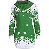 Frauen-Weihnachtsüberbrücker-Sweatshirt-Art- Und Weiseschneeflocke Druckte Cowl-Hals-Lange Hülsen-Oberseiten-Blusen-Pullover-T-Shirt S-2XL