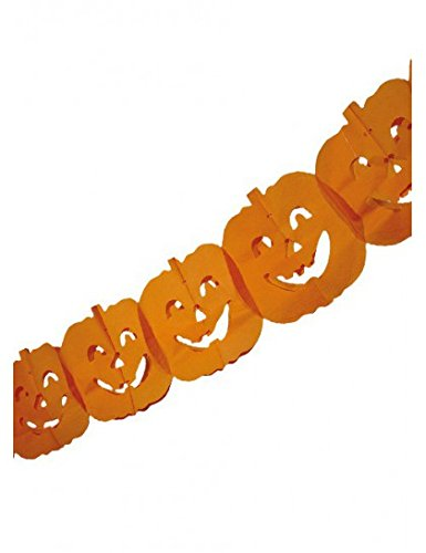 Boland 74564 - Festone Ghirlanda Carta Zucca Halloween 4 mt, Arancione