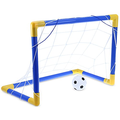 Zorbes Mini Football Soccer Goal Post Net Set with Pump Kids Sport Toy