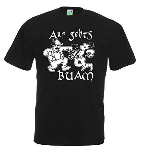 Auf gehts, Buam, Spruch - Spaß T-Shirt, Bayern, Mundart, Brauchtum, Dialekt, Rauferei, Premiumshirt von Bimaxx® Schwarz