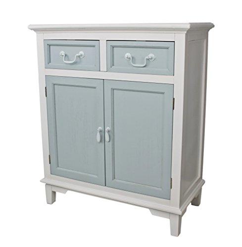 Tür 1 Schublade Konsole Schrank (elbmöbel Kommode Schubladen Schrank weiß blau antik Landhaus Holz Shabby Schuhschrank)