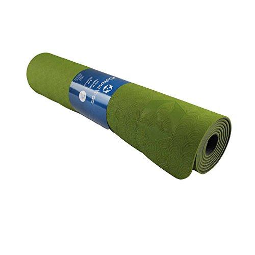 Tappetino da yoga »Shitala« / Materassino ecologico e ipoallergenico in gomma TPE, morbido e antiscivolo, ideale per tutti i maestri di yoga e gli appassionati / Dimensioni: 183 x 61 x 0,5cm / verde