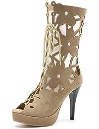 86d94c94fbc0 YE Damen High Heels Sommer Stiefel mit Schnürung Sandalen Offene Stiletto Cut  Out 10cm Absatz Party