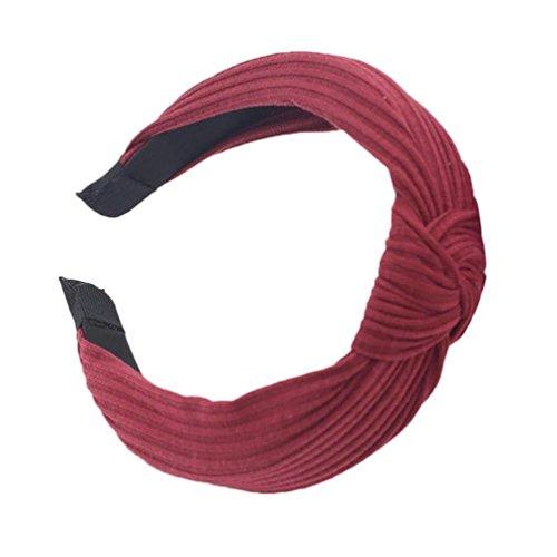 Frau Mode Stirnband VENMO Twist Hairband Bogen Knoten Kreuz Krawatte Headwrap Haarband Hoop Yoga Sport Elastic Haarband Stirnband Turban verdreht verknotet Elastische Blume Stirnbänder (Red)
