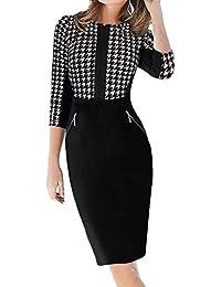 dc8273781aa Minetom Femmes Manches 3 4 Parti Zipper Tunique Moulante Bureau des  Affaires Robes Pour le