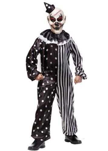 B-Creative Kids Halloween schwarz-weißes Killer-Clown-Kostüm (MEDIUM 7-9 -