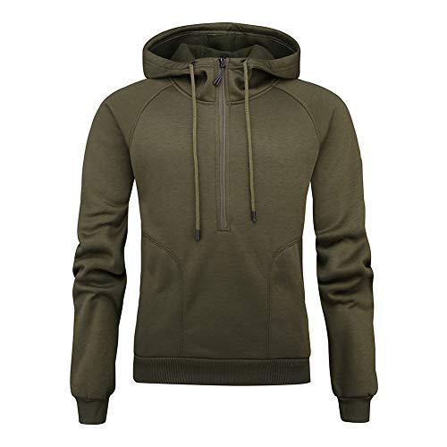 LUOYLYM Langarmshirts Herbst/Winter Neue Half Zipper Große Tasche Plus Fleece Kapuze Einfarbig Sweatshirtc3 / L