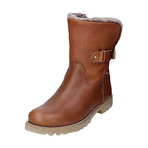 HOUMENGO Zapatos Invierno Mujer Botas de Nieve Casual Calzado Botines De Tacón Piel Forradas Calientes...