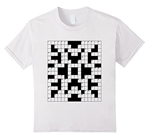 Kids Crossword T-Shirt Word Puzzle Grid Cryptic Graphic Tee 12 White