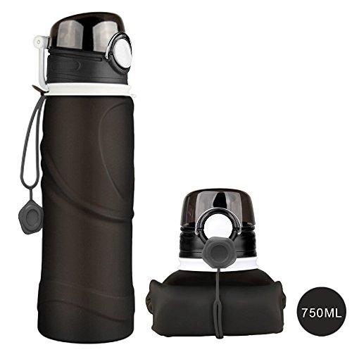 BPA-freie faltbare Trinkflasche, HiKeep medizinisches Silikon 750ML Wasserflasche, tragbar, Auslaufsichere und FDA Geprüft für Outdoor, Reisen, Radfahren (Schwarz)