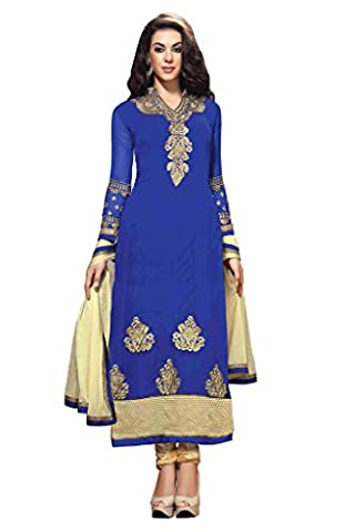Mirchi Fashion Women's Blue Party Wear Indian Semi-Stitched Suit Dress Material