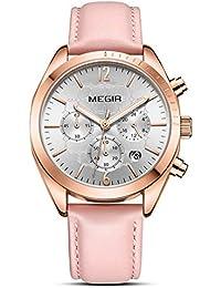 7155a1ca97d9 Reloj de Mujer La Moda Salvaje Multifuncional Tiempo Calendario Cuero Cuarzo  Señorita Mirar Mejor Regalo