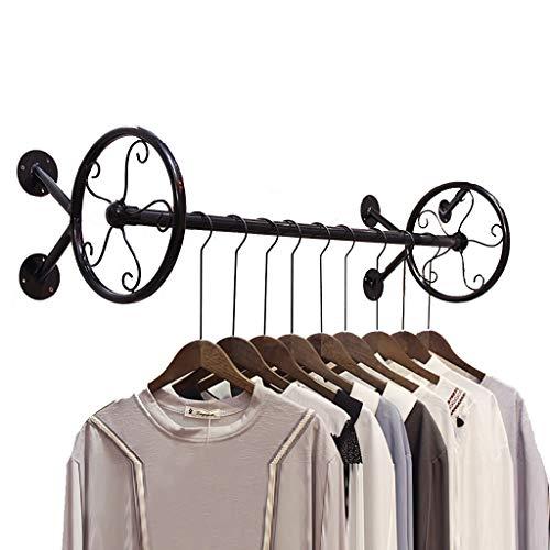 FKDEYIMAOJIA Schwarzer Kleiderständer an der Wand befestigt, industrieller Kleiderständer kleidet Präsentationsständer für Bekleidungsgeschäft 31/39/47 Zoll (Size : 120x25x25cm) (48 Zoll-wand-kleiderbügel)