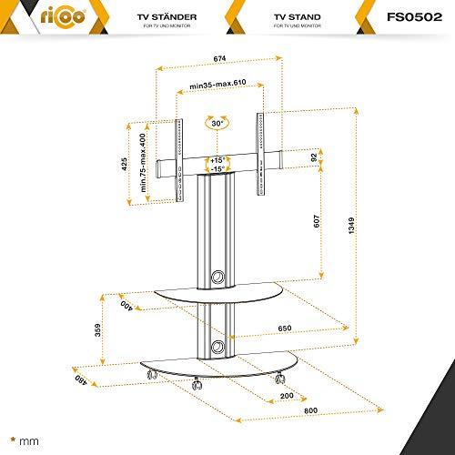 RICOO LCD TV Ständer FS0502 Standfuss Glas Standfuß Fernsehstand LED Fernseher Stand Halterung Schwenkbar Drehbar mit Rollen Möbel Rack max. VESA 400×400 Universal inkl. DVD Receiver Glas Regal Ablage - 7