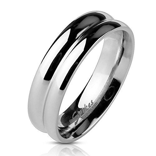 Bungsa 62 (19.7) Ring Zweireihig Silber für Damen und Herren Edelstahl hochglanzpoliert (Ring Damen Fingerring Partnerringe Verlobungsringe Trauringe Damenring Edelstahlring Chirurgenstahl)