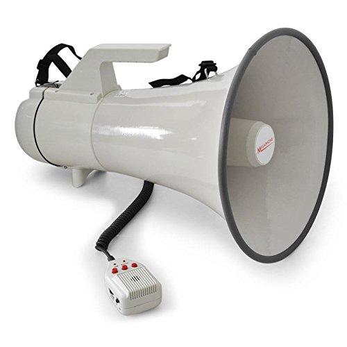 auna Megaphone Megafon Handmikrofon (45W Leistung, Reichweite bis 1500m, Anti-Larsen Mikrofon, Sirene Funktion, Tragegurt, robustes Gehäuse, wetterfeste Bauweise) weiss