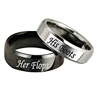 HIUYOO Stainless Steel Rings Set Engraved Her Flops and His Boots Gift for Valentine