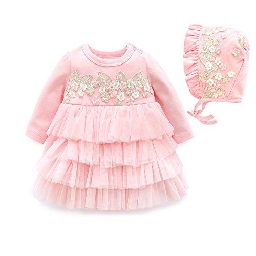 Kleider Langarm Baumwolle Prinzessin Kleid mit Hut (Rosa, 3-6 Monate) (Rosa Kind Von Prinzessin Hut)