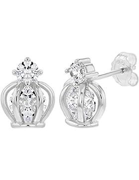 In Season Jewelry Mädchen Teens - Ohrstecker Ohrringe Prinzessin Krone 925 Sterling Silber Klar CZ Zirkonia