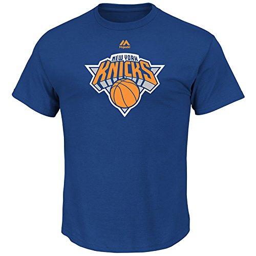 Majestic New York Knicks NBA Supreme Logo Men's Short Sleeve T-Shirt - Blue (Sleeve Short T-shirt Basketball Graphic)