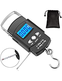 92b932ed72 Oriketech Fishing Scale 110lb 50kg Backlit LCD Screen Portable Electronic  Balance Digital Fish Hook Hanging Scale with Measuring Tape…