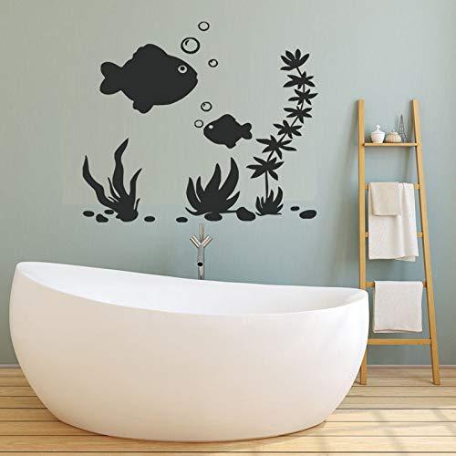 jiushizq Meeresboden Wandaufkleber Fisch Bad Wandfliesen Aufkleber Wasserdicht Abnehmbare Wandtattoos Vinyl Kunst Wandbilder 45 cm X 59 cm