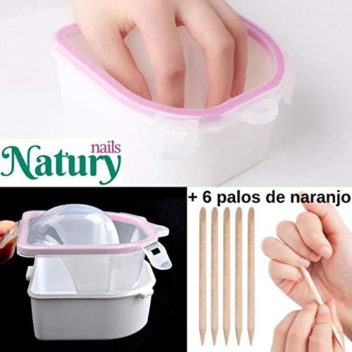 Cuenco para manicura. Doble capa. Para remojo de cutículas o eliminación de esmaltes semipermanentes y uñas postizas. Incluye 6 palos de naranjo.