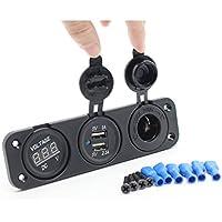 Waylee Universal Adaptador Enchufe 12V-24V, Mechero Toma Puerto USB Dual para Móviles GPS Coche Bote Auto + Voltímetro