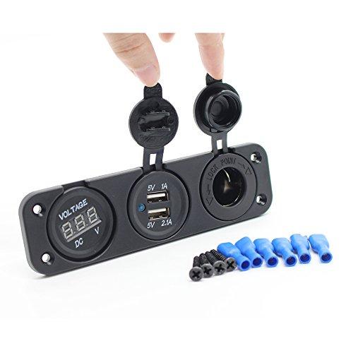 Waylee USB Caricabatteria da auto presa accendisigari Power Adapter con voltmetro LED Digital - 4in Regalo Tubo