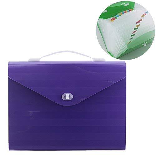 ozzptuu Große Kunststoff 26Taschen Fächermappen Ordner A4Größe uns Buchstaben Akkordeon Datei Organizer Dokument Aktentasche mit Griff violett (Datei-ordner Tasche Registerkarte)