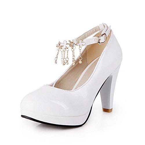 VogueZone009 Femme Rond à Talon Haut Verni Couleur Unie Boucle Chaussures Légeres Blanc