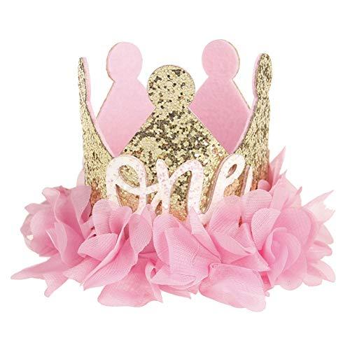 JoyFan Künstliche Rosen Blume Baby Prinzessin Tiara Krone Baby Mädchen Geburtstag Hut Sparkle Gold Flower Style, Filz, Rose, One Size