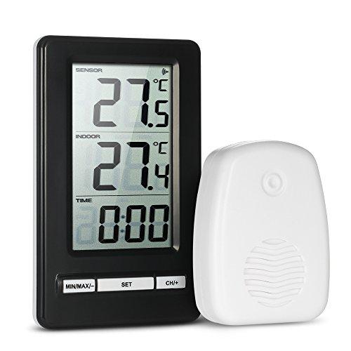 XXLYY Digitales Thermometer Innen, AußEn Temperatur Mit Zeitanzeige Max/Min Rekord °C/°F Schalter AußEn Sensor Halterung Wandbehang FüR Hause Gartenraum GewäChshaus BüRo KüHlschrank -