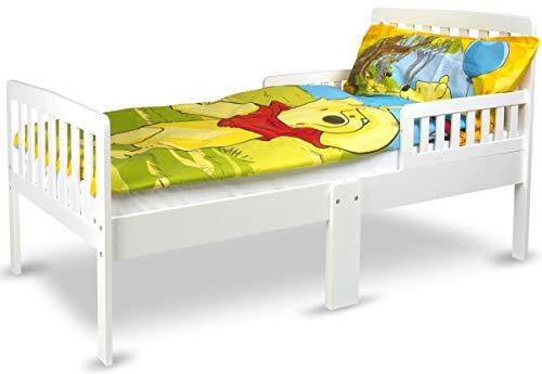 Leomark Kinderbett MODERN mit Seitenschutz und Matratze Juniorbett Holzbett Weiß