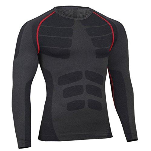 erthome Herren Top Mann-Trainings-Gamaschen-Eignungs-Sport-laufende Yoga-athletische Hemd-Spitzen-Bluse pullover | Laufen Hose (L, Schwarz B (Top)) - Kragen Scrub Top