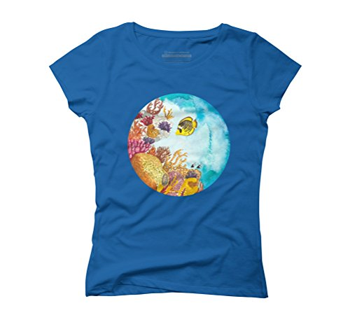 Watercolor Reef Women's Graphic T-Shirt - Design By Humans Royal Blue