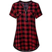 Camisas de Mujer,Dragon868 Las Mujeres relampagan para Arriba a Cuadros V Vestido de Cuello Casual Camisa