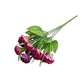 Ogquaton 1pcs Flor Artificial Clavel Plástico Planta Falsa Decoración de la Oficina en el hogar Ramo de Boda tamaño 35 cm Vino Tinto Durable y práctico