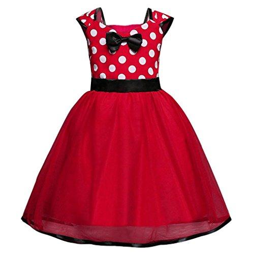 Mädchen Weihnachten Kleid, OverDose Kleinkind Kinder Baby Mädchen Tutu Prinzessin Dot Kleid Weihnachten Party Outfits Kleidung (2T,A-Rot) (Mädchen 2t-outfits)