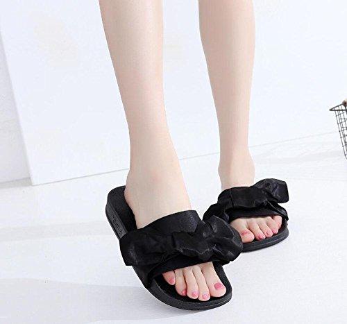 sandali piani femminile parola Waichuan spiaggia femminile pantofole fiocco di seta palazzo in stile Rihanna Black