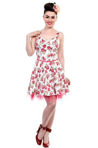 Banned 50s SMALL ROSES Petticoat KLEID Rockabilly Dress mit Trägern - Weiß/Pin Weiß