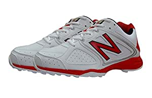 New Balance CK4020TV Cricket Spikes, 7 UK (White/Red)