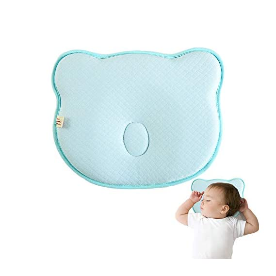 Arkmiido Baby Head Shaper Pillow New Born and Infants,Baby Sleep Pillow with Premium Memory Foam (Blue)