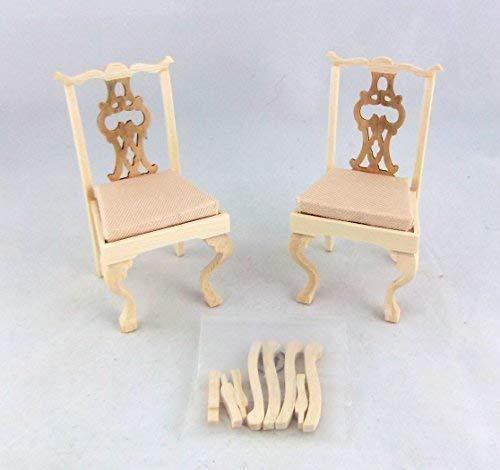 Melody Jane Puppenhaus Miniatur Möbel 2 Unvollendet Chippendale Cabriolle Bein Stühle