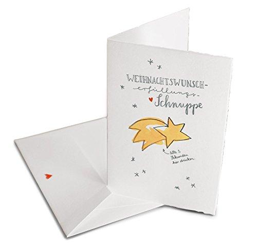 Hochwertige Weihnachtsgrußkarte, witzige Wunsch-Schnuppen Weihnachtskarte mit Umschlag, Schwarz Weiß Handlettering Design, edel exklusiv individuell, Klappkarte aus Bütte, Grußkarten Weihnachten