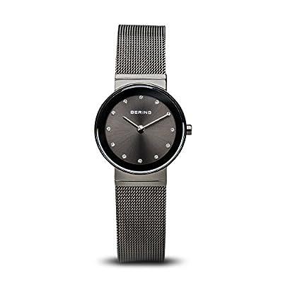 Bering Classic - Reloj analógico de mujer de cuarzo con correa de acero inoxidable negra - sumergible a 50 metros de BERING