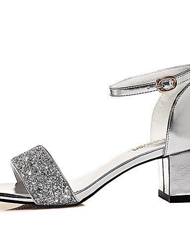 LFNLYX Chaussures Femme-Mariage / Bureau & Travail / Habillé / Décontracté / Soirée & Evénement-Argent / Or-Gros Talon-Bout Ouvert-Sandales- Silver