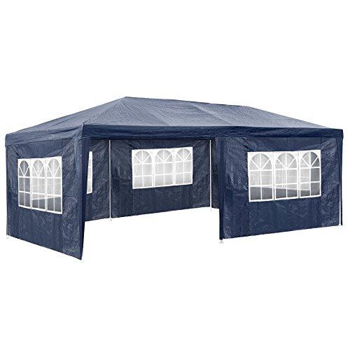 TecTake Pavillon Partyzelt Gartenzelt Eventpavillon | 3x6 m + 5 Seitenteile mit Fenster | - diverse Größen - (Blau | Nr. 402302)