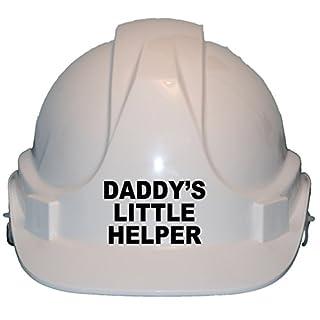 DADDY 'S LITTLE HELPER mit eigenen Formulierung Kinder, Kinder Echt Hard Hat Sicherheit Helm mit Kinnriemen eine Größe verstellbar geeignet für 4–12Jahre entspricht EN397Sicherheit Standard, weiß