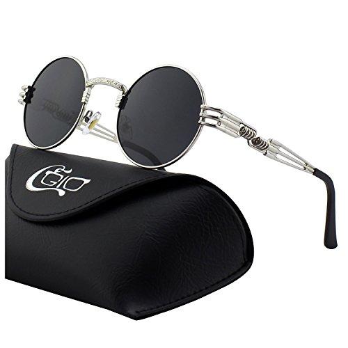 CGID Retro Sonnenbrille im Steampunk Stil, runder Metallrahmen, polarisiert, für Frauen und Männer, E72, B2 Silber Grau, Einheitsgröße